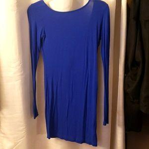 Blue long sleeve mini dress